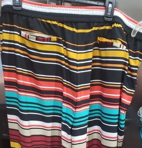 Crazy colored wide leg striped pants